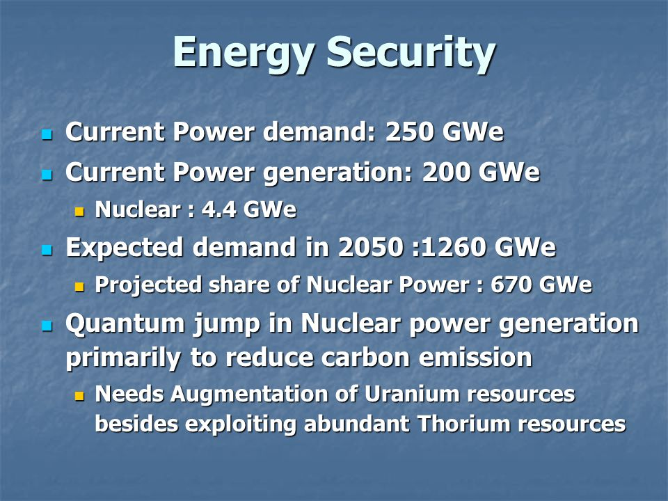 Energy Security Current Power demand: 250 GWe