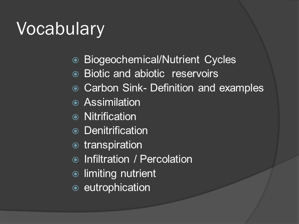 Vocabulary Biogeochemical/Nutrient Cycles