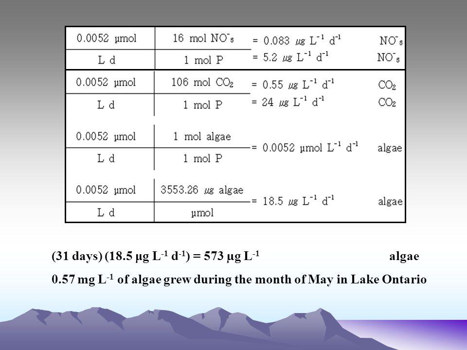 (31 days) (18.5 μg L-1 d-1) = 573 µg L-1 algae