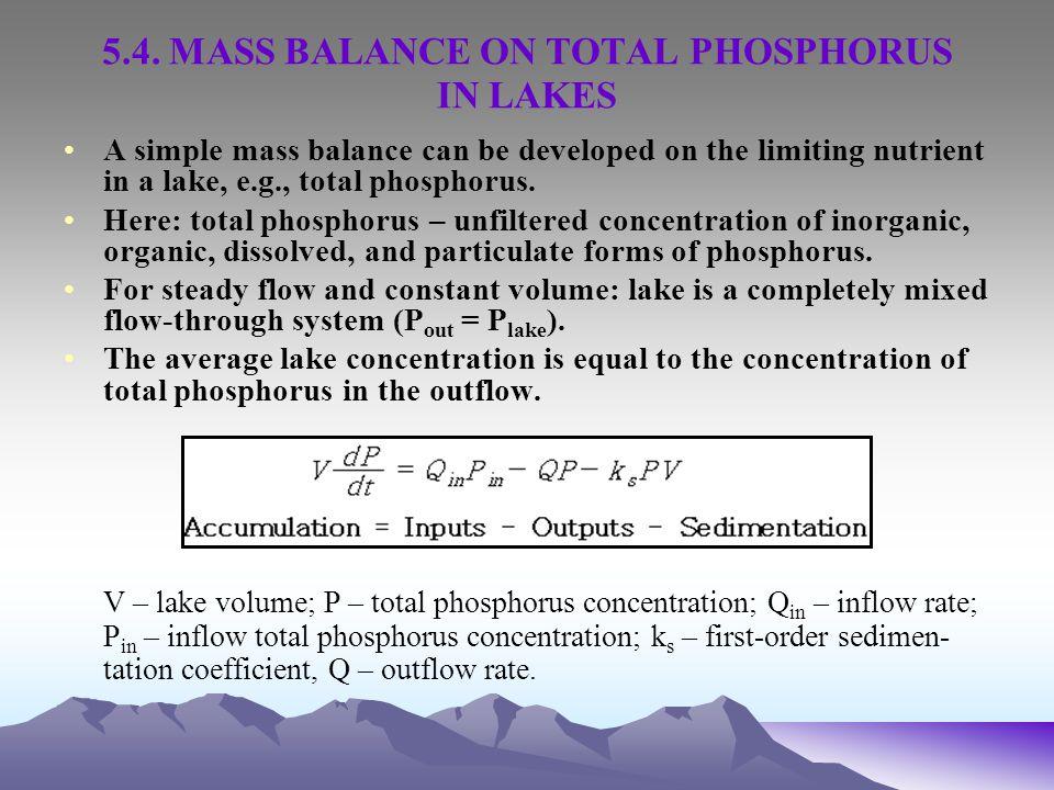 5.4. MASS BALANCE ON TOTAL PHOSPHORUS IN LAKES