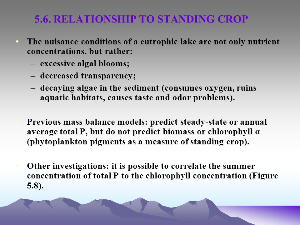 5.6. RELATIONSHIP TO STANDING CROP