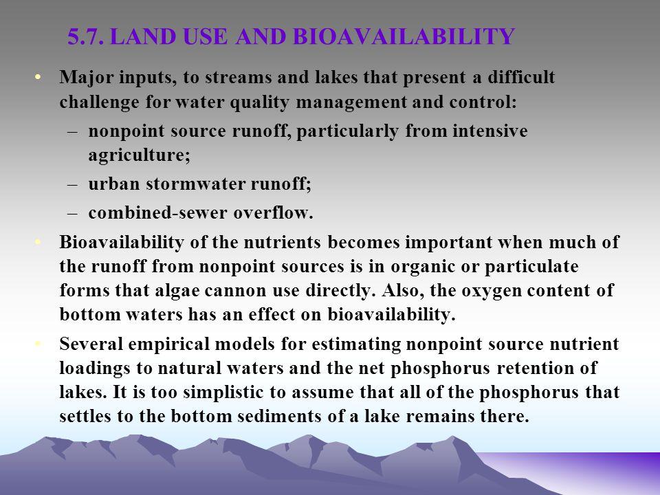 5.7. LAND USE AND BIOAVAILABILITY
