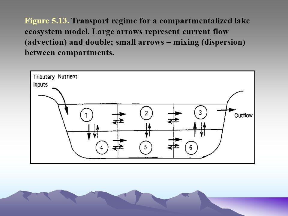 Figure 5.13. Transport regime for a compartmentalized lake ecosystem model.