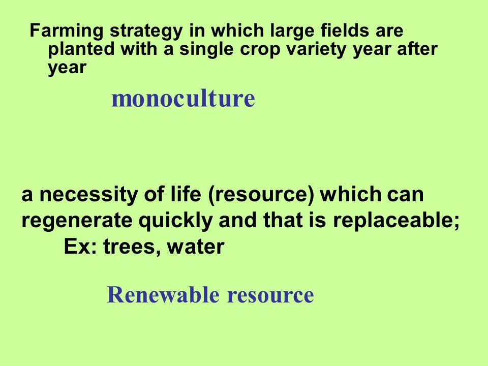 monoculture Renewable resource