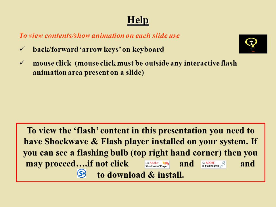 Help To view contents/show animation on each slide use. back/forward 'arrow keys' on keyboard.