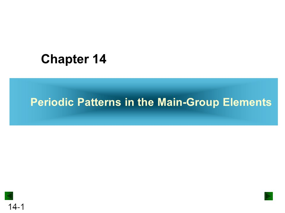 Chapter 14 Periodic Patterns in the Main-Group Elements