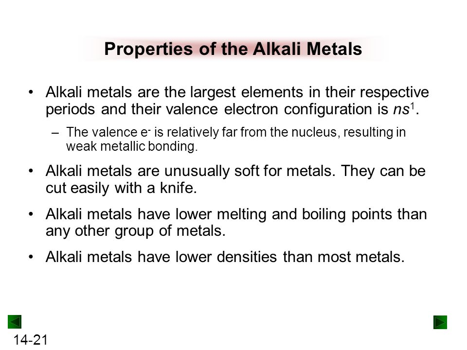 Properties of the Alkali Metals