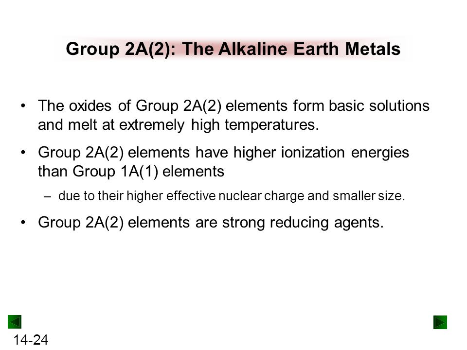 Group 2A(2): The Alkaline Earth Metals