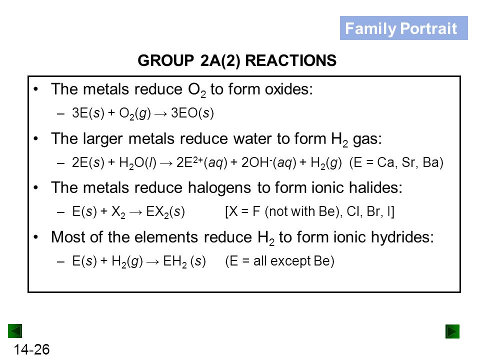 The metals reduce O2 to form oxides: