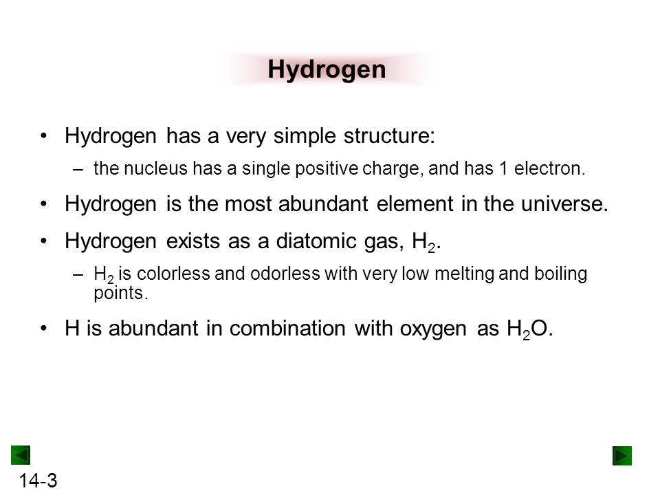 Hydrogen Hydrogen has a very simple structure: