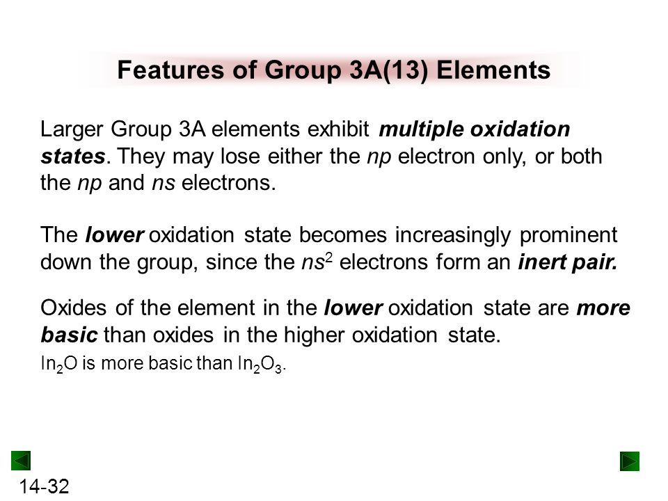 Features of Group 3A(13) Elements