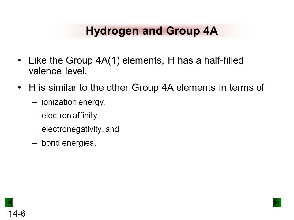 Hydrogen and Group 4A Like the Group 4A(1) elements, H has a half-filled valence level. H is similar to the other Group 4A elements in terms of.