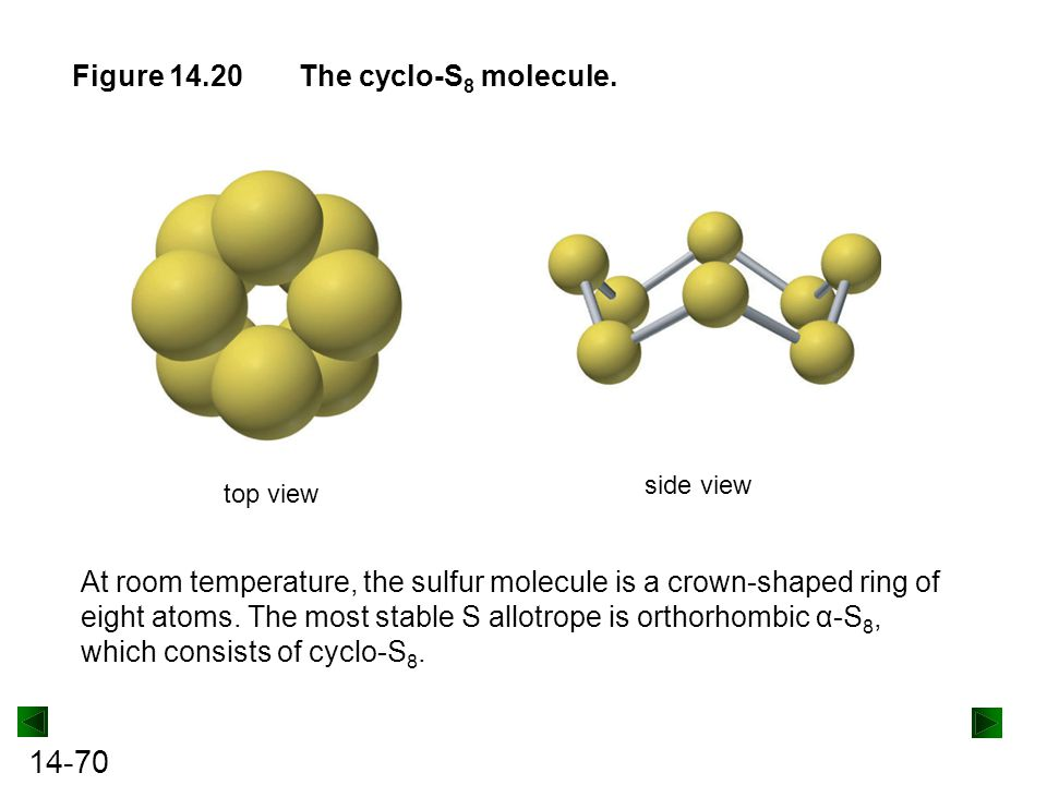 Figure 14.20 The cyclo-S8 molecule.