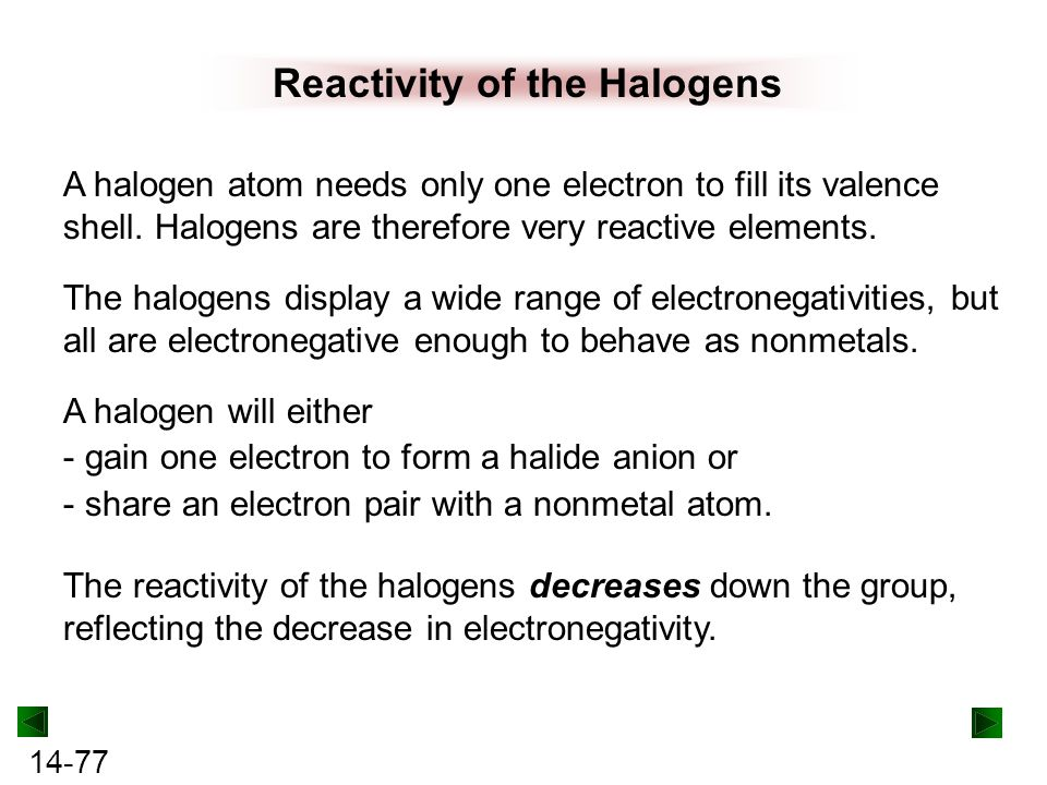 Reactivity of the Halogens