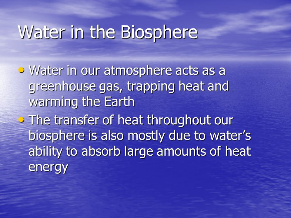 Water in the Biosphere Water in our atmosphere acts as a greenhouse gas, trapping heat and warming the Earth.