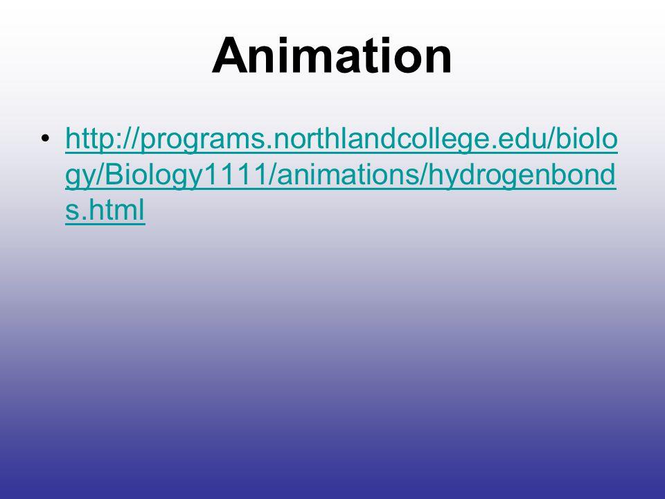 Animation http://programs.northlandcollege.edu/biology/Biology1111/animations/hydrogenbonds.html