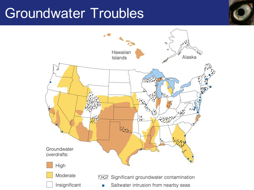 Groundwater Troubles Figure 42.9 Groundwater troubles in the United States.