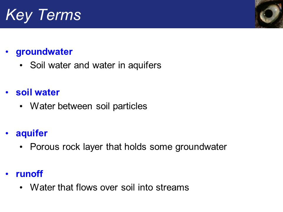 Key Terms groundwater Soil water and water in aquifers soil water