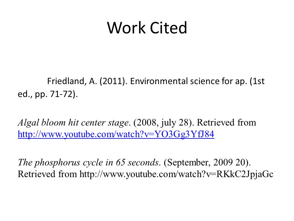 Work Cited Friedland, A. (2011). Environmental science for ap. (1st ed., pp. 71-72).