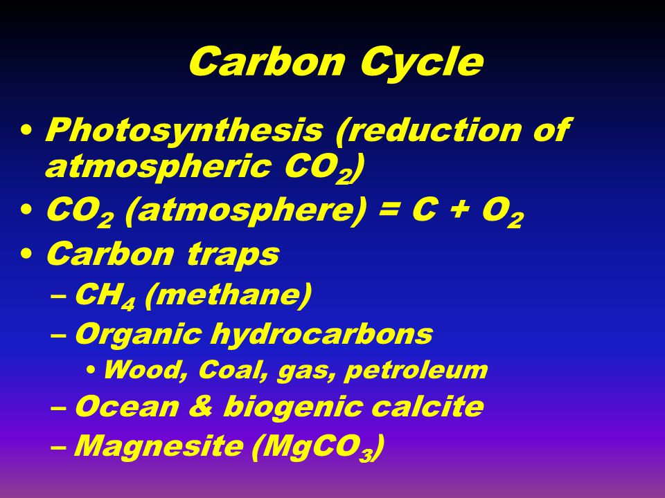Carbon Cycle Photosynthesis (reduction of atmospheric CO2)