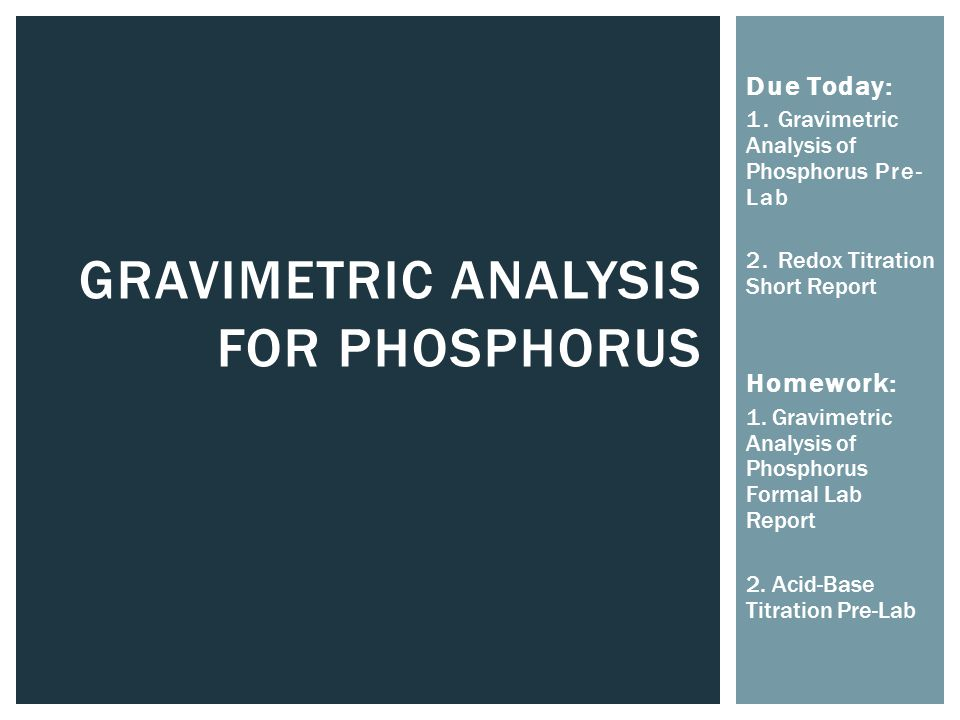 gravimetric analysis report Thermal gravimetric analysis can be interfaced with a mass spectrometer rga to identify and measure the vapors generated, though there is much greater sensitivity .