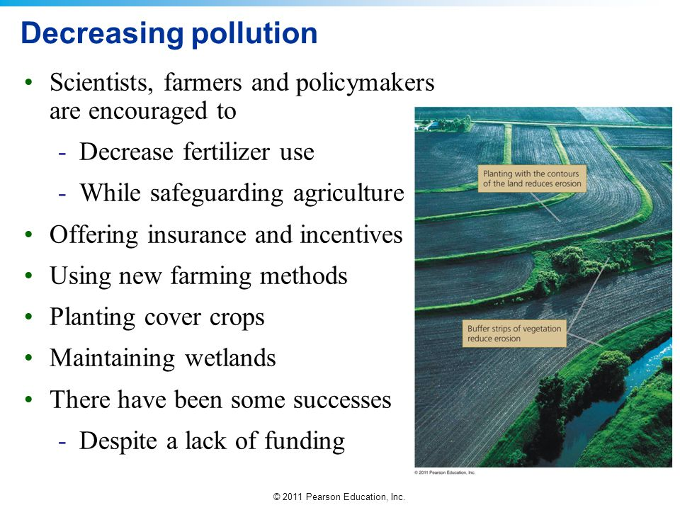 Decreasing pollution Scientists, farmers and policymakers are encouraged to. Decrease fertilizer use.