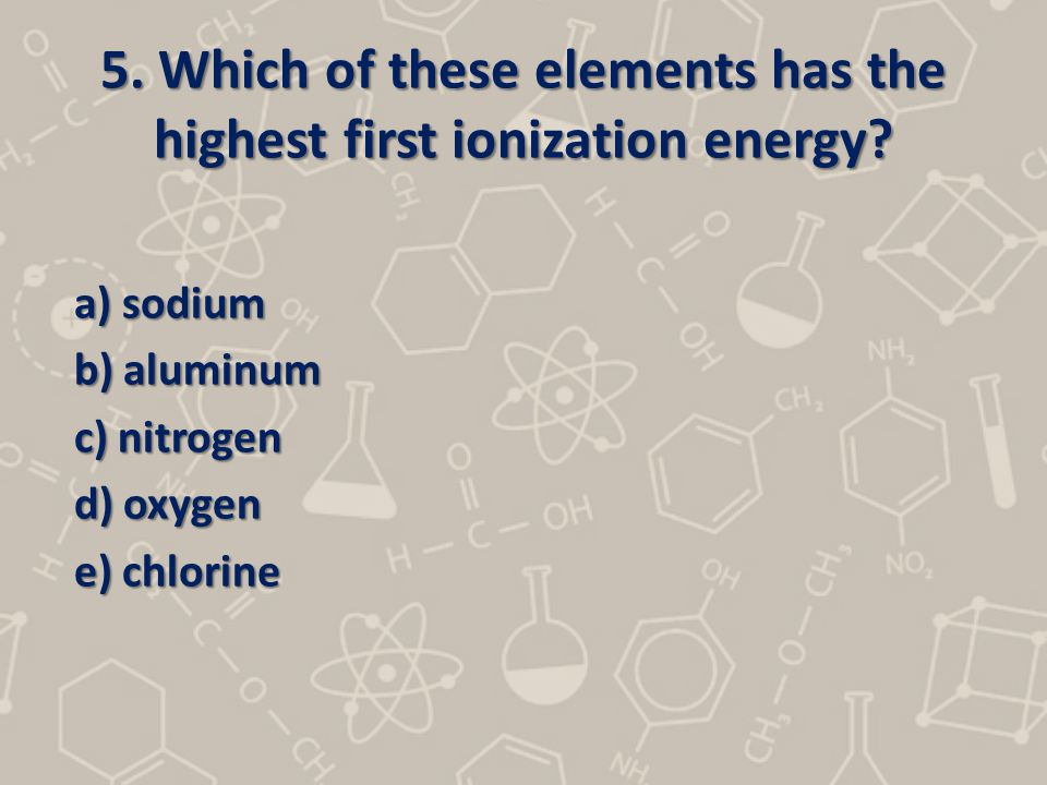 5. Which of these elements has the highest first ionization energy