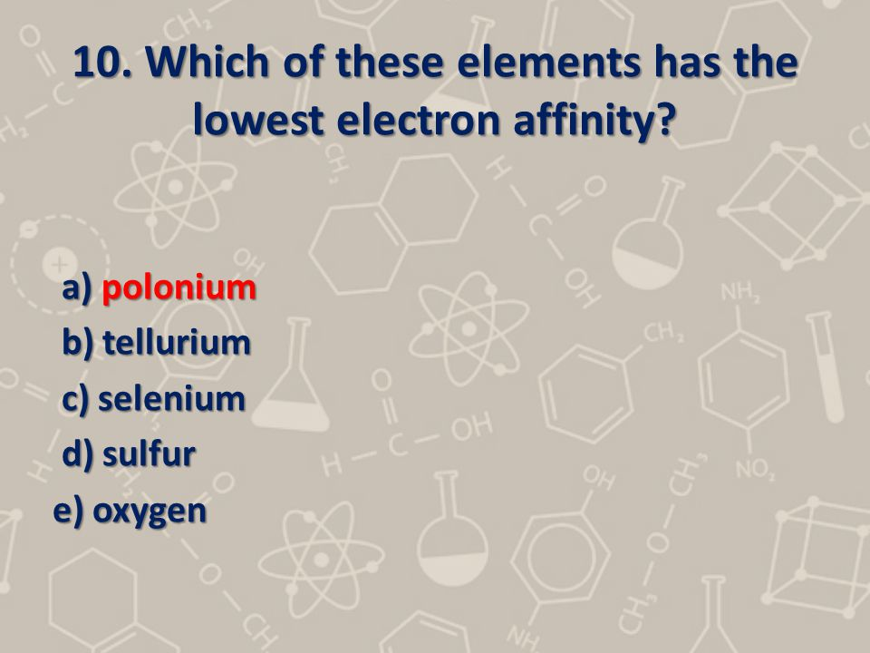 10. Which of these elements has the lowest electron affinity