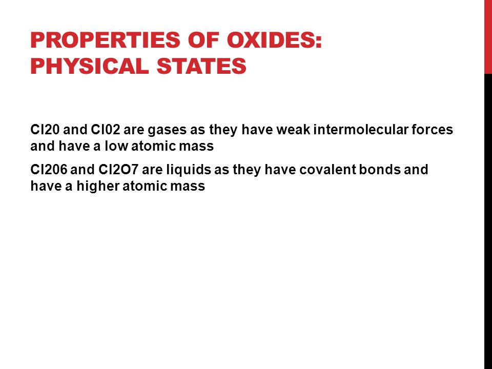Properties of oxides: Physical states