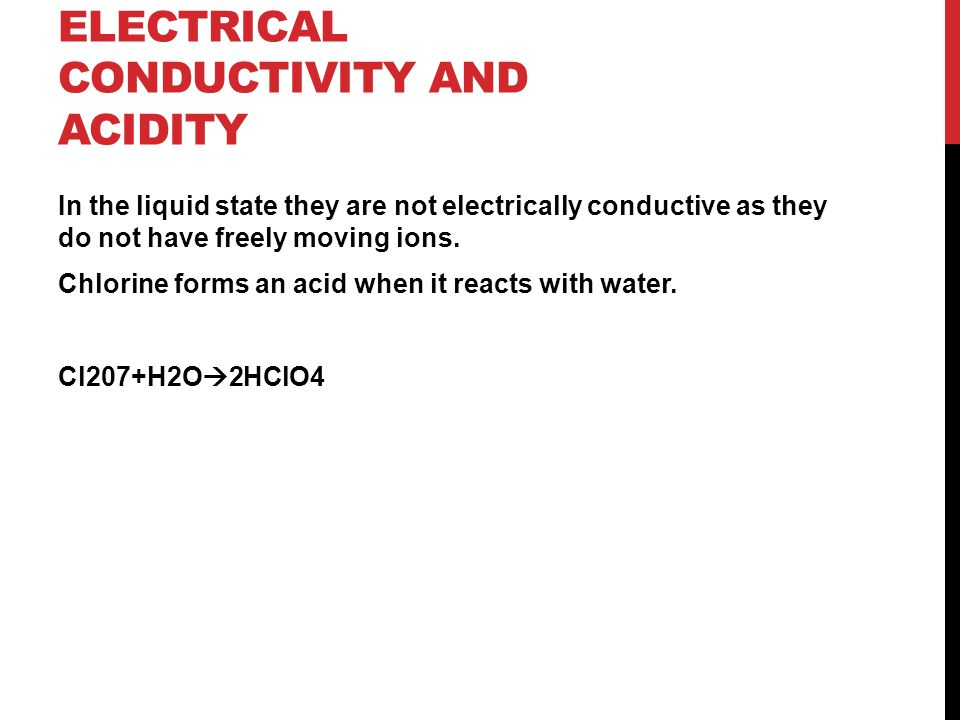 Properties of oxides: electrical conductivity and acidity