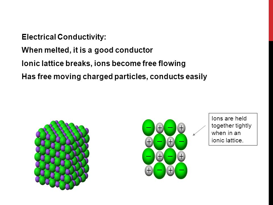 Electrical Conductivity: When melted, it is a good conductor Ionic lattice breaks, ions become free flowing Has free moving charged particles, conducts easily