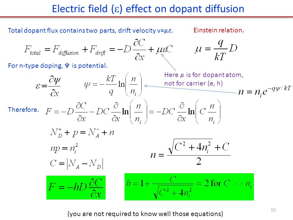 Electric field () effect on dopant diffusion