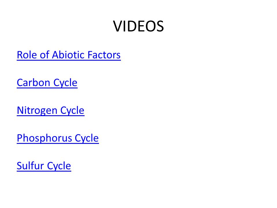 VIDEOS Role of Abiotic Factors Carbon Cycle Nitrogen Cycle Phosphorus Cycle Sulfur Cycle