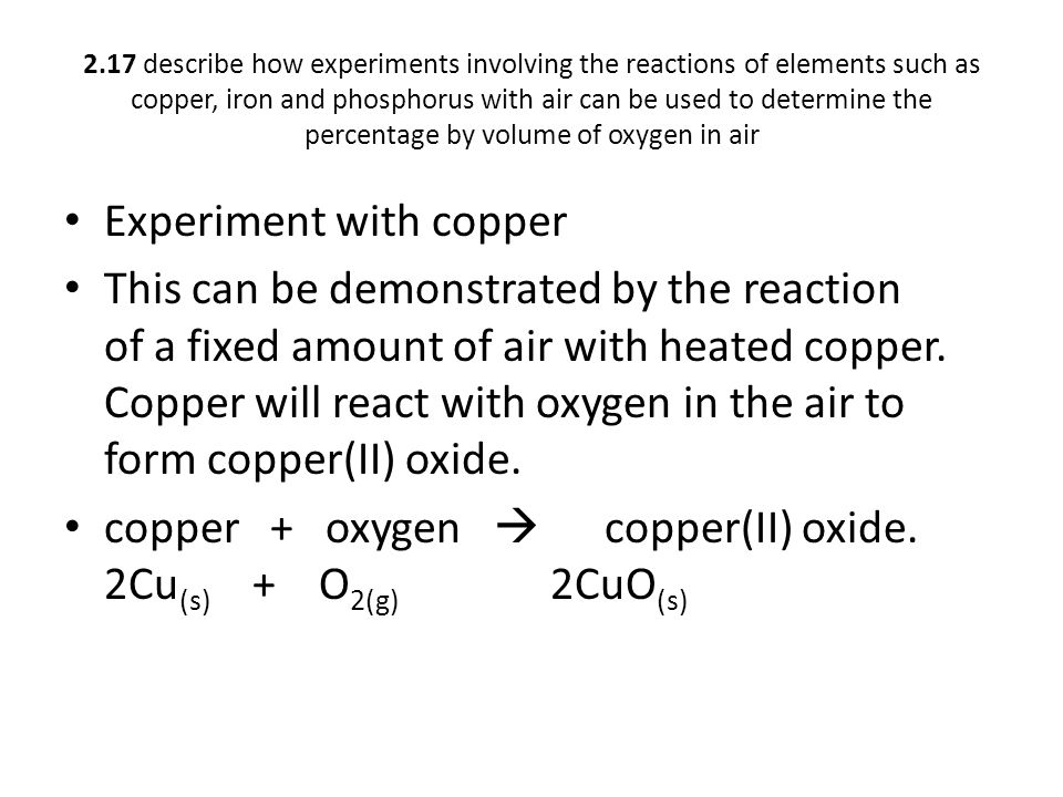 Experiment with copper