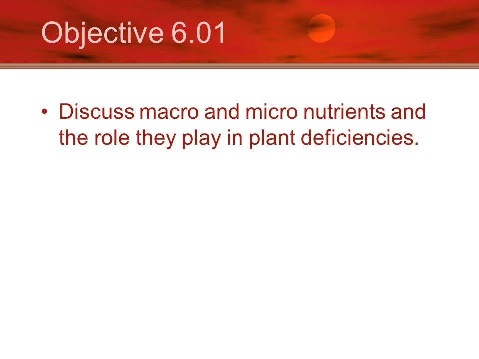 Objective 6.01 Discuss macro and micro nutrients and the role they play in plant deficiencies.