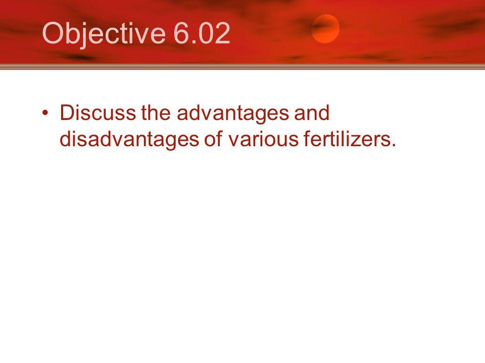 Objective 6.02 Discuss the advantages and disadvantages of various fertilizers.