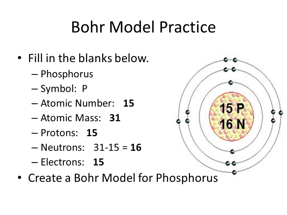 Bohr Model Practice Fill in the blanks below.
