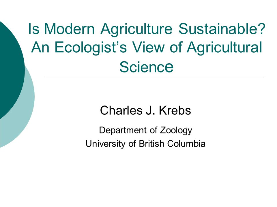 Charles J. Krebs Department of Zoology University of British Columbia