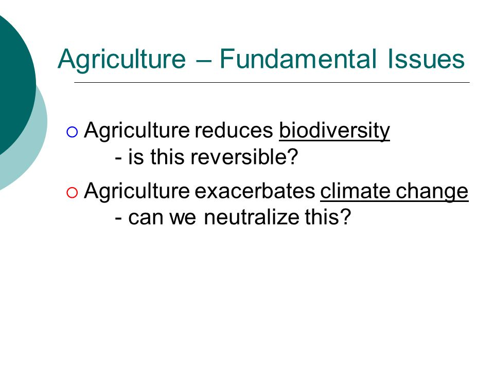 Agriculture – Fundamental Issues