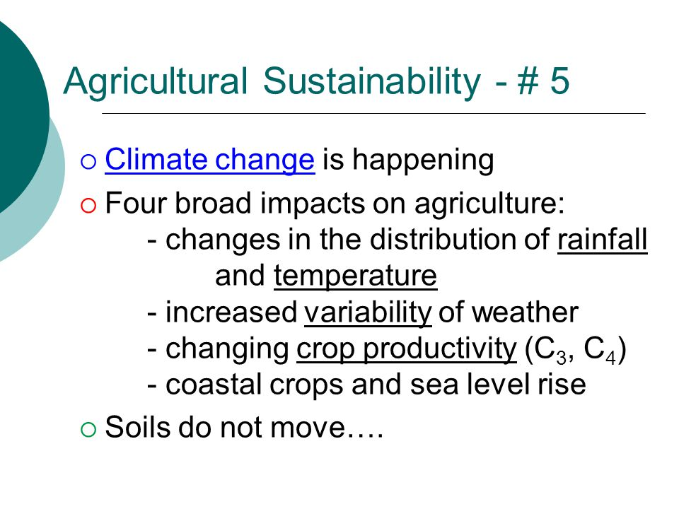 Agricultural Sustainability - # 5