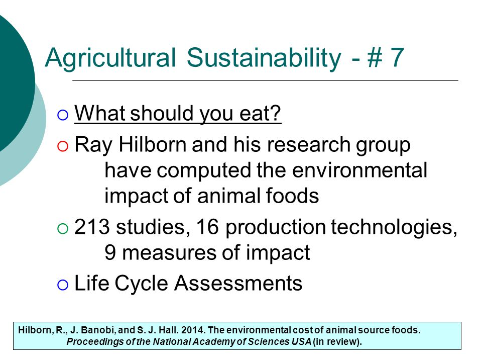 Agricultural Sustainability - # 7