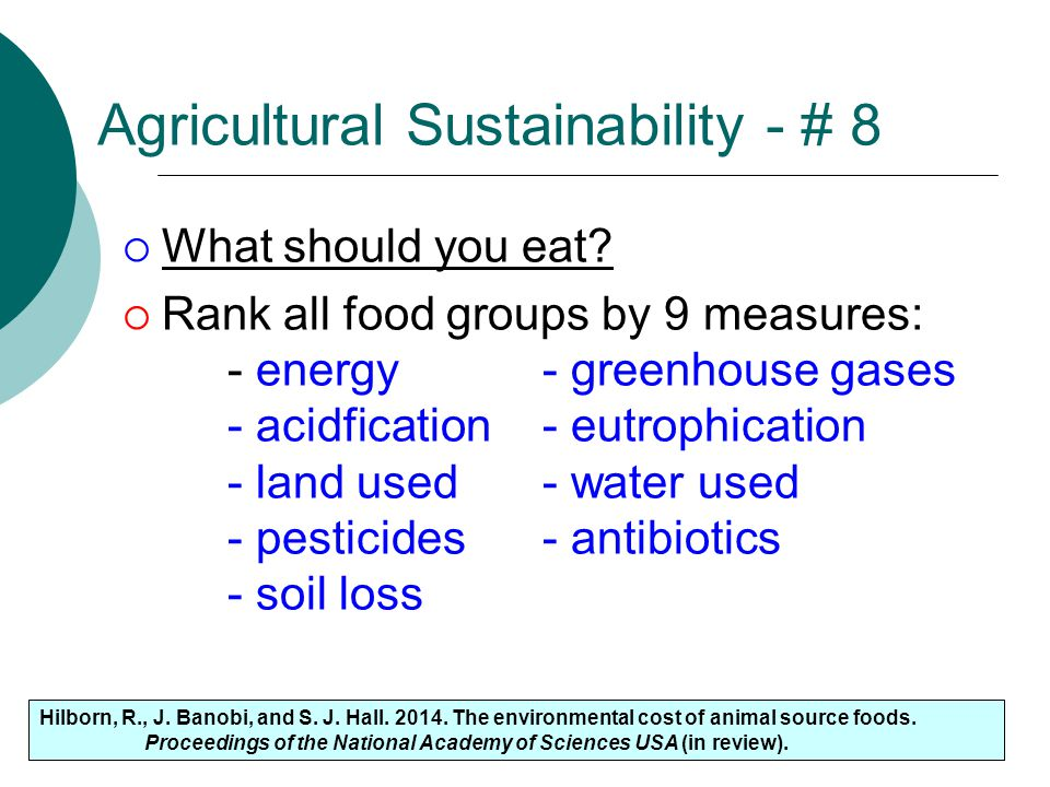 Agricultural Sustainability - # 8
