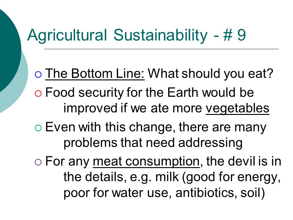 Agricultural Sustainability - # 9