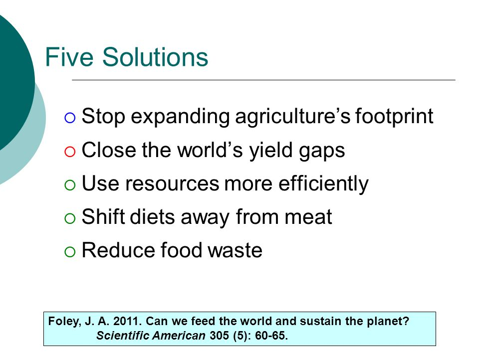 Five Solutions Stop expanding agriculture's footprint