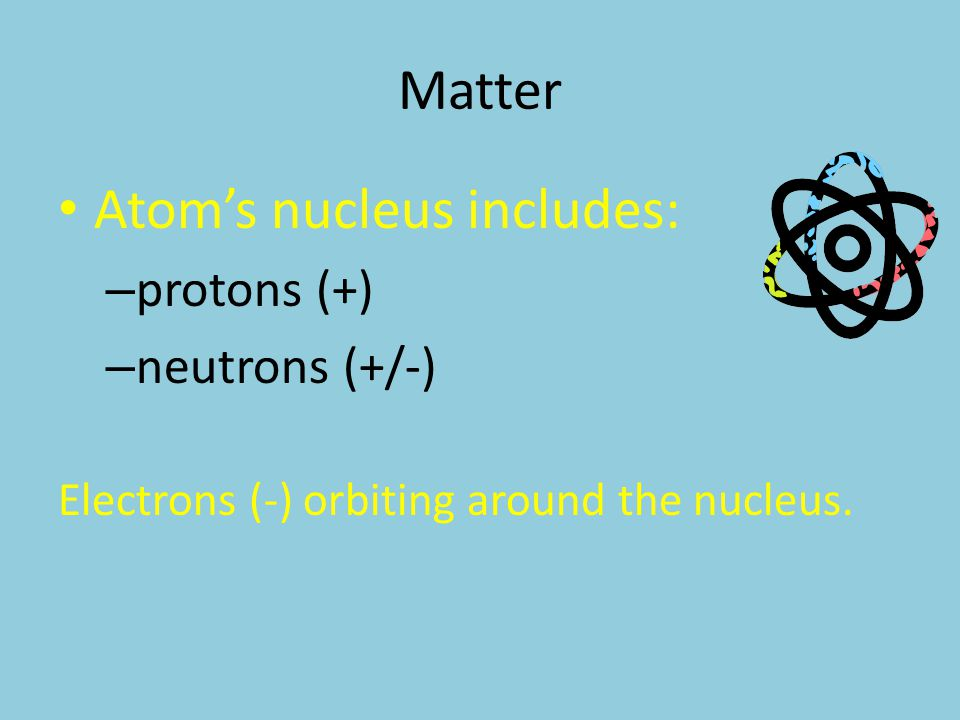 Atom's nucleus includes: