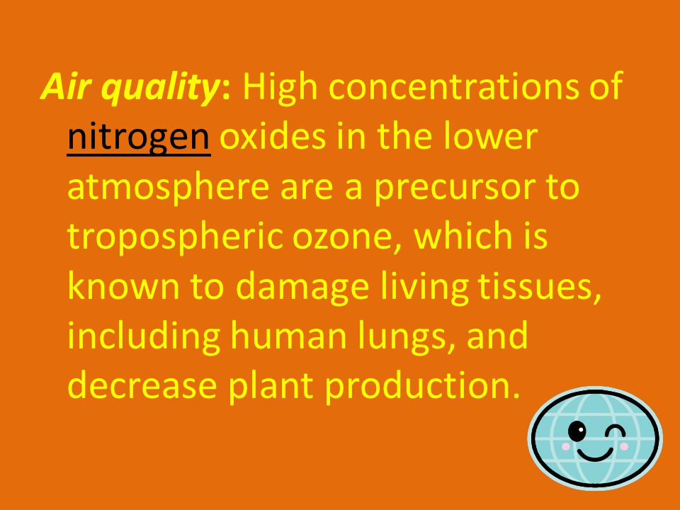Air quality: High concentrations of nitrogen oxides in the lower atmosphere are a precursor to tropospheric ozone, which is known to damage living tissues, including human lungs, and decrease plant production.