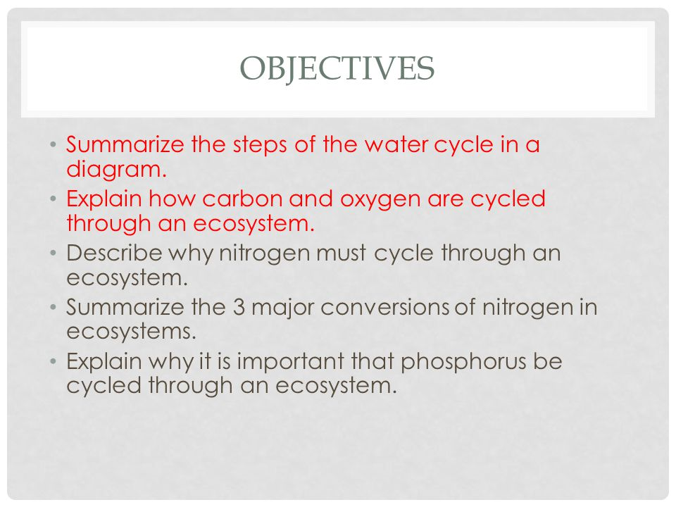Objectives Summarize the steps of the water cycle in a diagram.