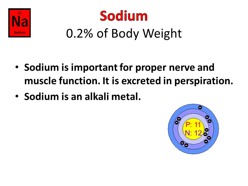 Sodium 0.2% of Body Weight Sodium is important for proper nerve and muscle function. It is excreted in perspiration.