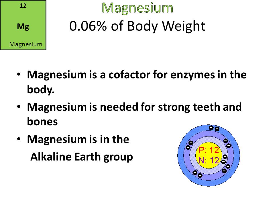 Magnesium 0.06% of Body Weight