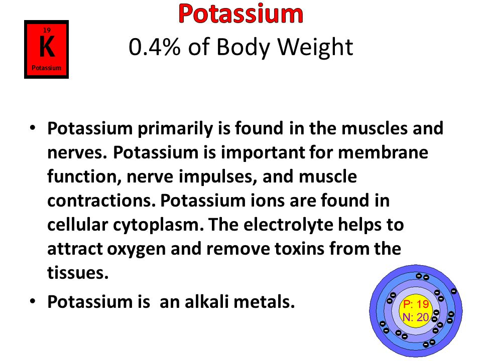 Potassium 0.4% of Body Weight